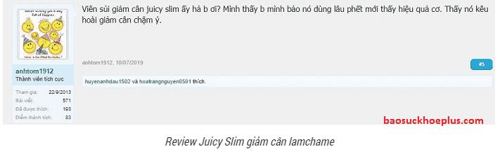 viên sủi giảm cân Juicy Slim webtretho đánh giá